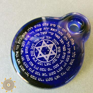 72 nombres de Dios dorado vidrio azul oscuro